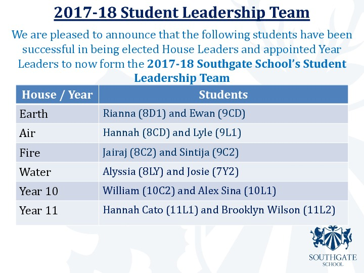 2017 18 student leadership team