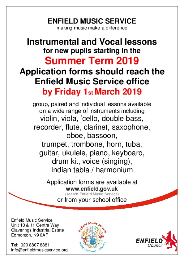Vocal and instrumental lessons summer term