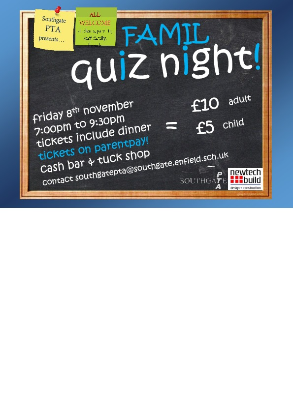 Family quiz night 2019 flyer