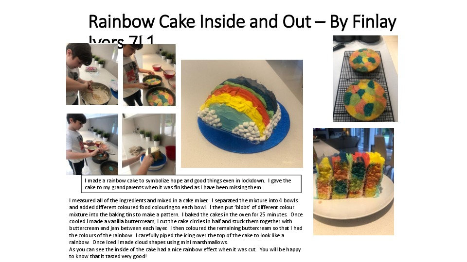 Rainbow cake inside and out – by finlay