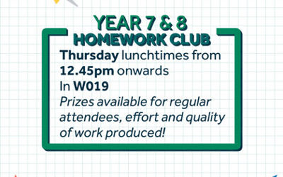 Year 7 & 8 Homework Club