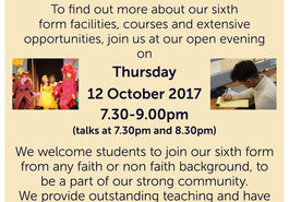 6th form open evening - Thursday 12 October - 7.30-9.00pm