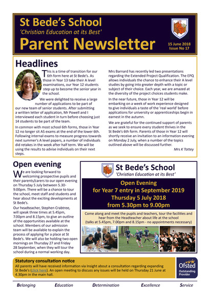 Issue 17 parent newsletter 20180615