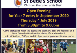 Advance notice: Open Evening for September 2020 entry - Thursday 4 July 2019
