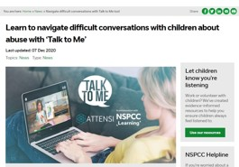 NSPCC Learning tool 'Talk to me'