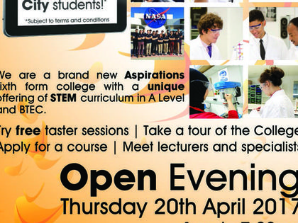 Come along to Open Evening Thurs 20 April