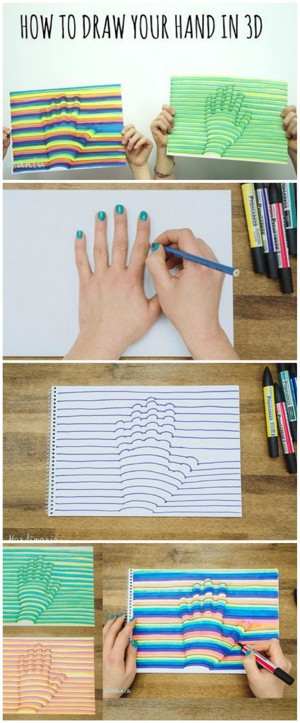 3D Hand Art step by step lesson